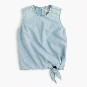 J.Crew Blue Chambray Tie-Waist Top Size 14
